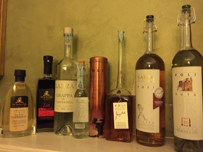 Our grappa selection before it was tucked safely (and legally) away in our suitcases.