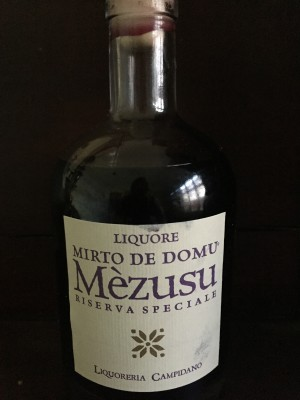 The delicious dark mirto we brought home.