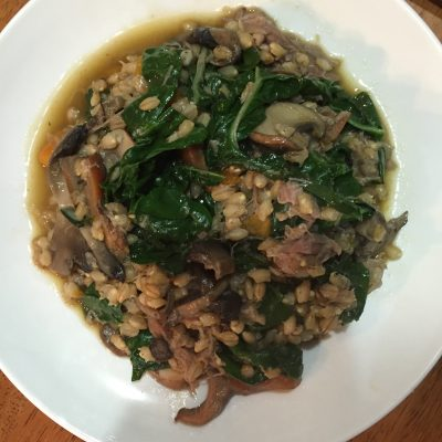 Duck, mushroom and silver beet blend beautifully with the barley.