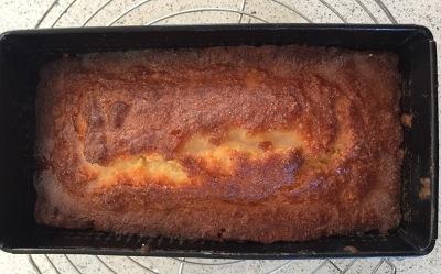The lemon-sugar mix soaking into the hot cake.