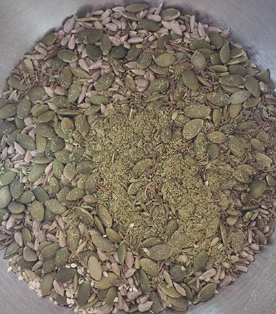 the mix, mostly seeds.
