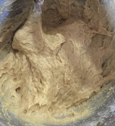 The dough is still sticky before adding more flour at the final stage.