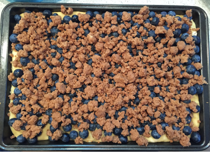 Top the base with fruit and streusel.